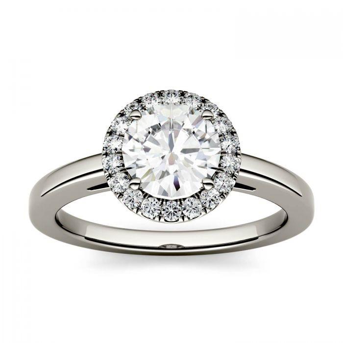 Round Moissanite Halo Engagement Ring