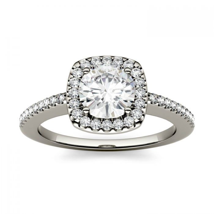 Round Moissanite Halo with Side Accents