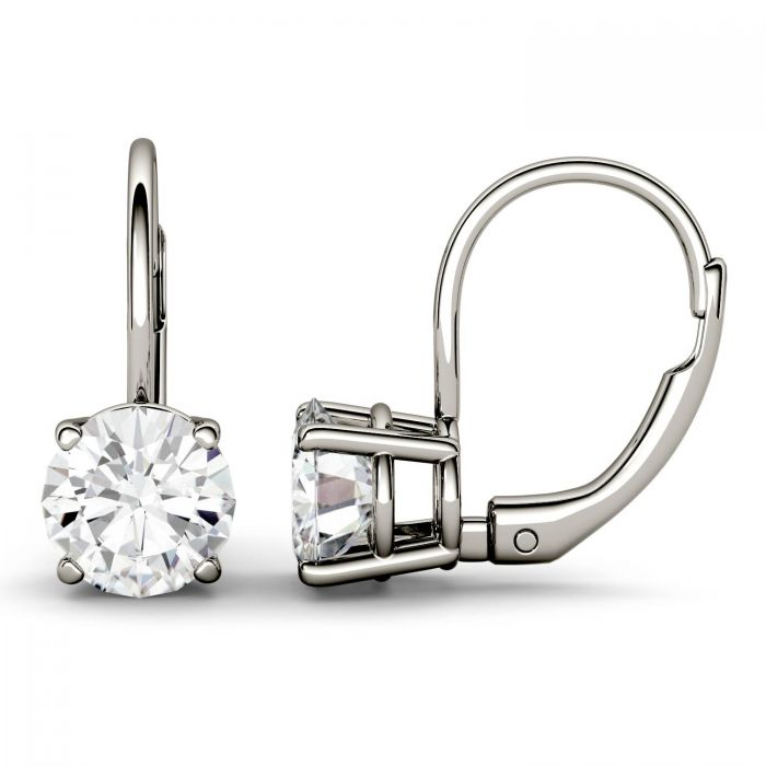 Forever One 2 00ctw Round Colorless Moissanite Leverback Earrings In 14k White Gold