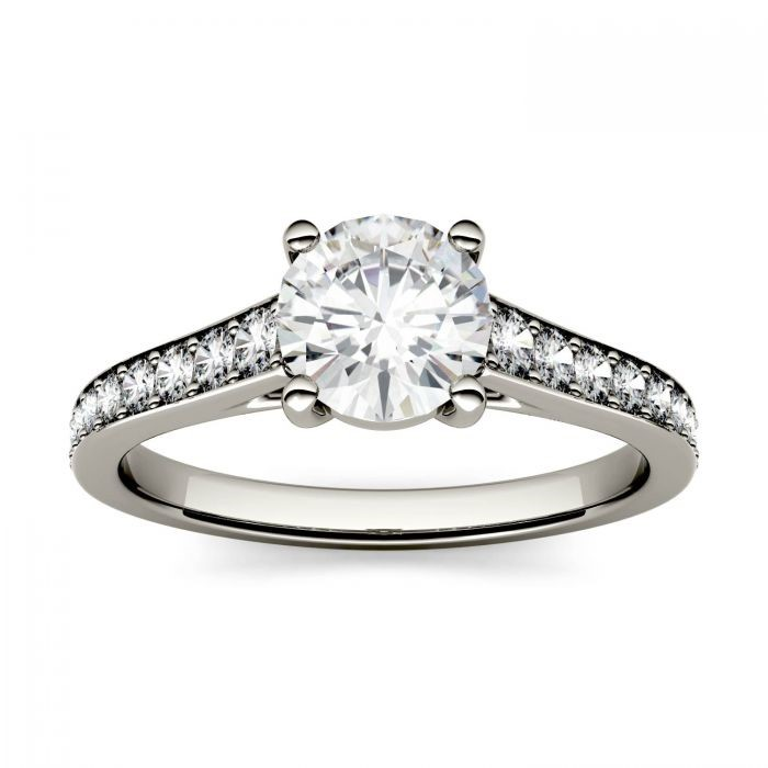 Round Moissanite Solitaire with Channel Set Side Accents