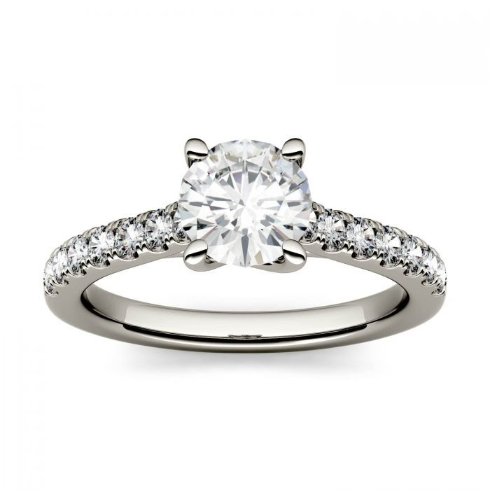 Round Moissanite Solitaire with Side Accents